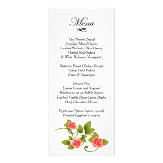 Coral Rose Wedding - Menu