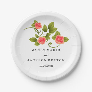Coral Rose Wedding Paper Plate