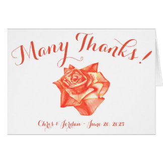 Coral Rose Wedding Thank You Note Card Elegant