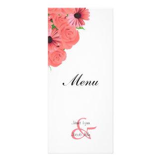 Coral Roses and Daisies Flower Wedding Menu