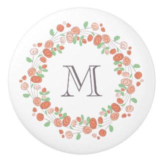 coral roses wreath monogram ceramic knob