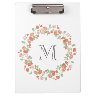 coral roses wreath monogram clipboard