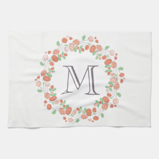 coral roses wreath monogram kitchen towel