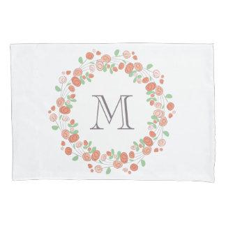 coral roses wreath monogram pillowcase