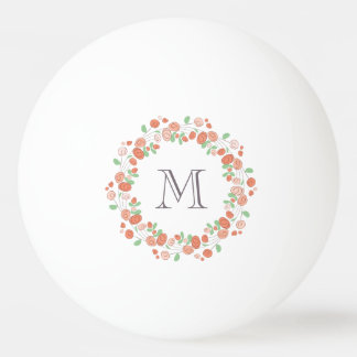 coral roses wreath monogram ping pong ball
