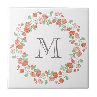 coral roses wreath monogram tile