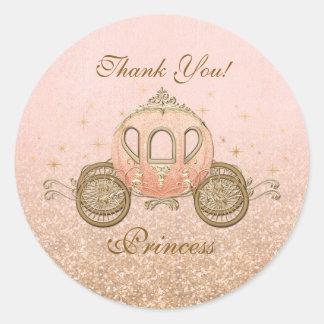 Coral Royal Fairytale Princess Circle Stickers