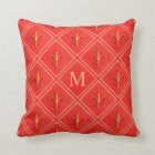 Coral Rustic French Country Fleur de Lis  Monogram Throw Pillow