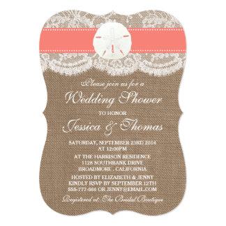 "Coral Sand Dollar Beach Wedding Shower 5"" X 7"" Invitation Card"