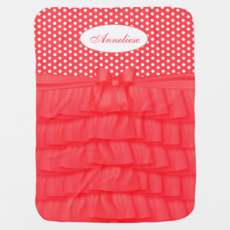 Coral Satin Ruffles & Matching Bow with Polka Dots Baby Blanket