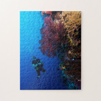 Coral Sea - Diver and Soft Coral - Puzzle