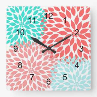 Coral Seafoam Teal Dahlia home decor wall clock