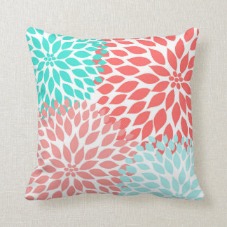 Coral Seafoam Teal Dahlia modern floral decor Throw Pillow