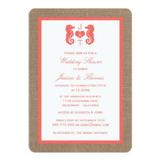 "Coral Seahorse On Burlap Beach Wedding Shower 5"" X 7"" Invitation Card"