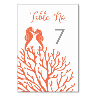 Coral Seahorse Table Number Cards Table Cards