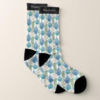 Coral Seaweed Pattern custom name socks 1