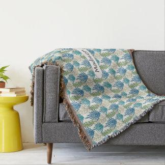 Coral Seaweed Pattern custom name throw blanket