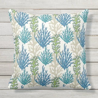 Coral Seaweed Pattern throw pillows