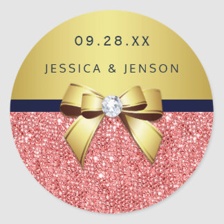 Coral Sequins Gold Navy Diamonds Bow Wedding Classic Round Sticker