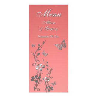 Coral, Silver Gray Butterfly Floral Menu Card