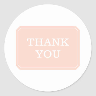 Coral Simply Elegant Thank You Stickers