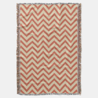 Coral Spice Moods Chevrons Throw Blanket