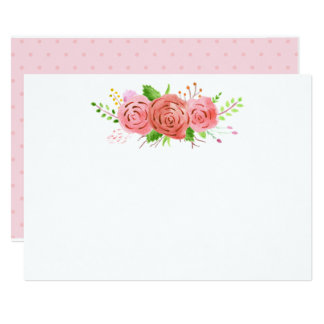 Coral Spring Blank Wedding Note Card