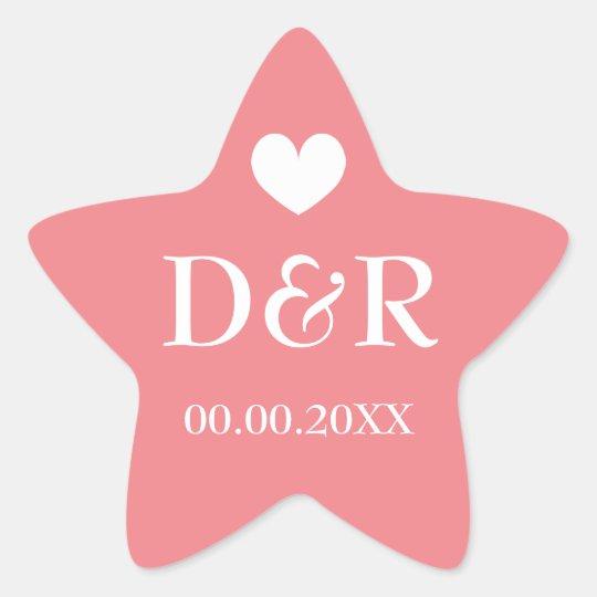Coral star monogram beach wedding favour stickers