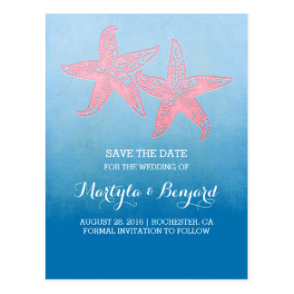 Coral starfish couple blue ombre save the date postcard