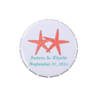 Coral Starfish Custom Wedding Favor Mint Tin