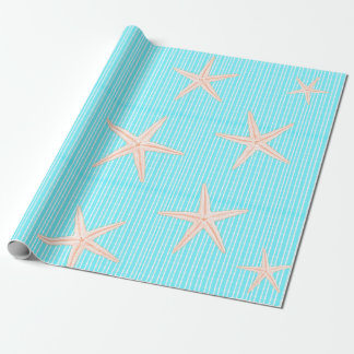 Coral Starfish on Aqua Blue Wrapping Paper