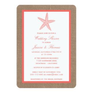 "Coral Starfish On Burlap Beach Wedding Shower 5"" X 7"" Invitation Card"
