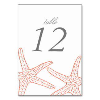 Coral Starfish Table Number Cards