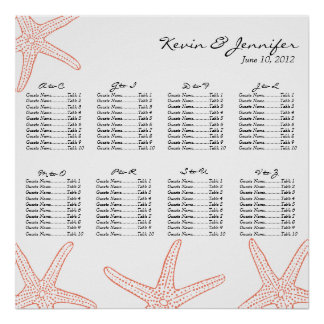 Coral Starfish Wedding Seating Chart Posters