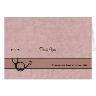 Coral Stethoscope Thank You Folded Notecard