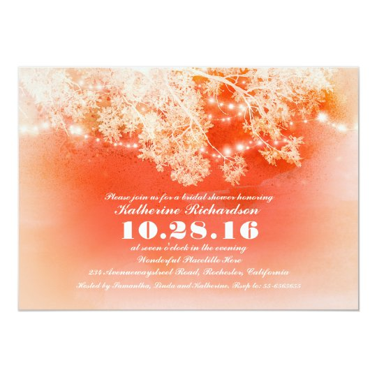 Coral string lights bridal shower invitation