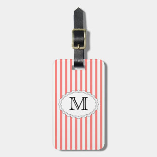 Coral Stripe Luggage Tag Template
