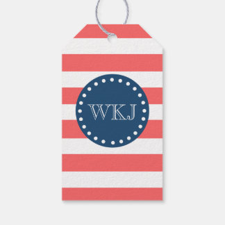 Coral Stripes Navy Blue Three Letter Monogram Pack Of Gift Tags