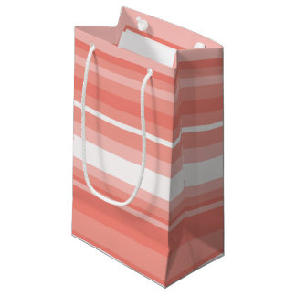 Coral stripes small gift bag