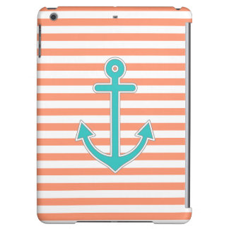 Coral Stripes Teal Anchor Nautical Cover For iPad Air