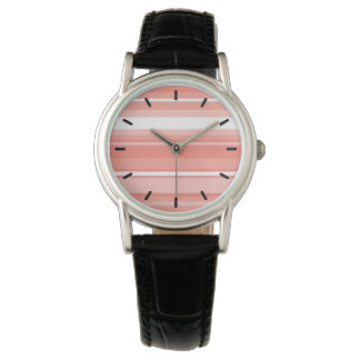 Coral stripes wrist watch