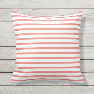 Coral Summer Stripes Outdoor Pillows