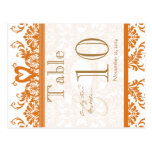 Coral Swan Damask Table Number Post Cards