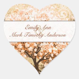 Coral Swirl Heart Leaf Tree Wedding Seal Heart Sticker