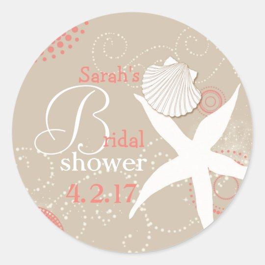 Coral Tan Beach Bridal Shower Classic Round Sticker