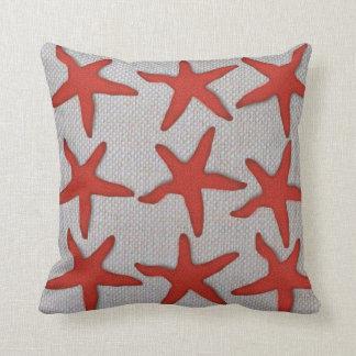 Coral,Tan,Neutral,Burlap Designed Throw Pillow