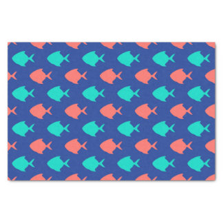 Coral Teal and Cobalt Blue Little Fish Pattern Tissue Paper