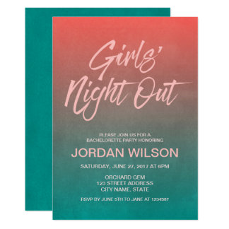 Coral Teal Bachelorette Girls' Night Out Invite