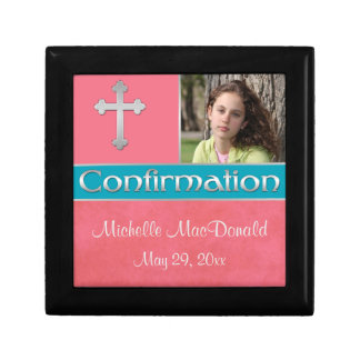 Coral, Teal Confirmation Keepsake Jewellery Box Jewelry Boxes