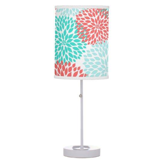 Coral Teal Dahlias bedroom decor, modern floral Table Lamp